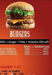 Menu Lunchbox - Burgers et informations