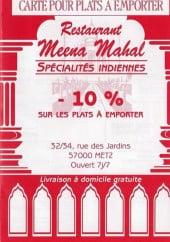 Menu Meena Mahal - Carte et menu Meena Mahal Metz