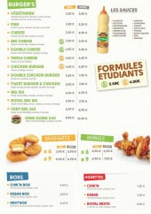 Menu Chik & Délis - Les burgers, nuggets, wings...