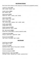 Menu Café Restaurant du Coin - Les entrées froides et potages