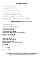 Menu Café Restaurant du Coin - Les entrées chaudes et plats typiques