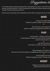 Menu La Toque Blanche - entrées, plats, desserts
