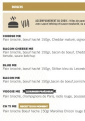 Menu Buffalo Burger - Les burgers