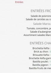 Menu La Table Marocaine - Les antrées