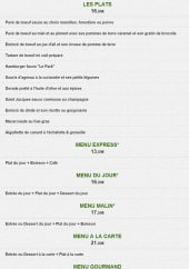 Menu Le park - Les plats et menus