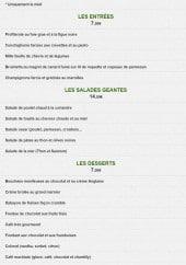 Menu Le park - Les entrées, salades et desserts