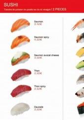 Menu Sushi chiwa - Les sushis