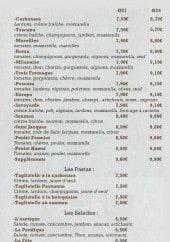 Menu Il piccolo mulino - Les pizzas suite, pates et salades