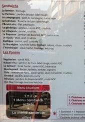 Menu Boutteau - Les sandwiches, paninis et menu