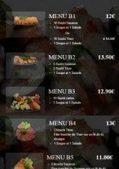Menu He's Sushi - Les menus: B1, B2...