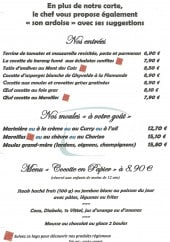 Menu La cocotte - Les entrées, moules,....