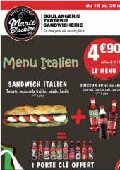 Menu Boulangerie Marie Blachère - Le menu italien