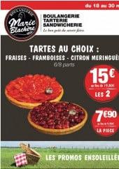 Menu Boulangerie Marie Blachère - Les tartes