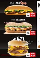 Menu 411 Avenue Burger - Les menus