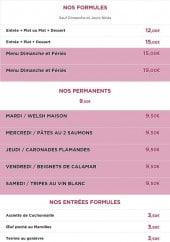 Menu Le beau Bourg - Les formules, les permanents et entrées