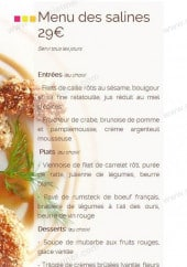 Menu Fleur de Sel - Menu des Saline