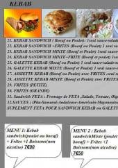 Menu Andiamo pizza - Les kebab et menus