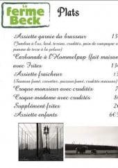 Menu La Ferme Beck - Les plats