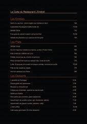 Menu L'Endroit - Les entrées, plats et desserts