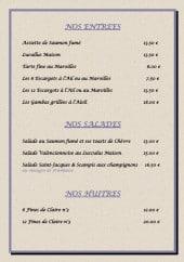Menu Les Wantiers - Les entrées, salades et huîtres