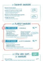 Menu Amarine - Le saumon Amarine, Les Planch'Amarine et les les Fish and Chips