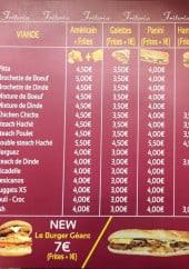Menu Friteria de la Gare - Les sandwiches, burgers, brochettes...
