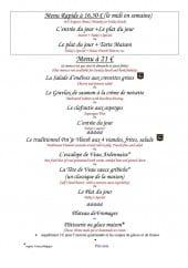 Menu Au Pont Tournant - Le menu rapide et menu à 21€