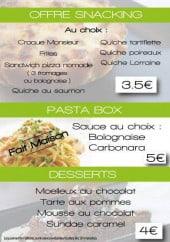 Menu Le Cristal - snacking, les plats, desserts