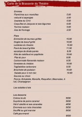 Menu Café du Théâtre - Les entrées, salades, desserts et glaces
