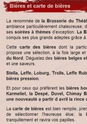 Menu Café du Théâtre - Les informations sur les bières