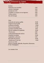 Menu Le Café du Théâtre - Les entrées, plats,....