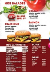Menu Burger city - Les salades et sandwiches