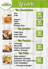 Menu Good Lunch - Sandwiches, galettes, paninis,....
