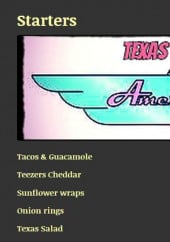 Menu Texas Diner - Les entrées