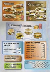 Menu L'Oriental Délices - Sandwiches, burgers, galettes,...