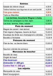 Menu Le Bistro Culinaire - Entrées, plats, poissons,...