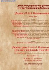 Menu Crêperie Bretonne - Formules suite