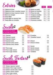 Menu Sushi Dream - Entrées et sushis