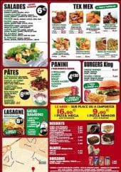 Menu Pizza king - les salades, tex mex, pâtes, lasagnes, menu Bambino, paninis, burgers, desserts, glaces et boissons