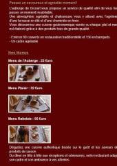 Menu Auberge de Gicourt - Les menus