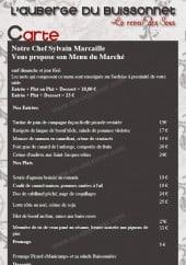 Menu Auberge du Buissonnet - Les menus et entrées