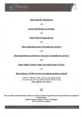 Menu L'Alezan Restaurant - Les menus