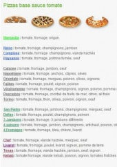 Menu Livarot Pizza - Pizza a base tomate