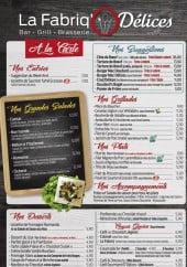 Menu La Fabriq'Ô Délices - Les entrées, suggestions, salades,...