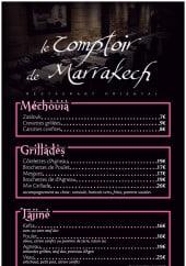 Menu Le Comptoir De Marrakech - Le méchouia, grillades, tajines et couscous