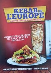 Menu Kebab de l'Europe - Carte et menu Kebab de l'Europe Calais