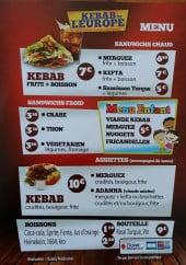 Menu Kebab de l'Europe - Menus, boissons, assiettes...