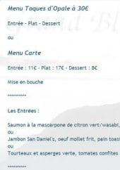 Menu Le Grand Bleu - Le menu touque d'opale, le menu carte et les entrées