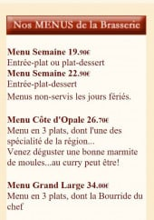 Menu Hamiot - les menus