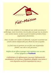Menu Entre Terre et Mer - Carte et menu Entre Terre et Mer Marquise